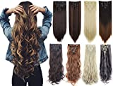 Lelinta 7Pcs Full Head 16 Clips in on Double Weft Hair Extensions, Dark Brown Curly, 24inch 160g