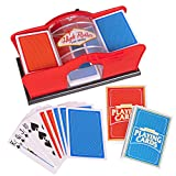 Deluxe Card Shuffler for Blackjack, Uno, Poker; Quiet, Easy To Use Manual Card Mixer, Hand Cranked, Casino Equipment Card Shuffling Machine For Playing Cards, (2-Deck) Of Cards Holder