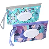 2 Pack Baby Wipe Dispenser,Reusable Portable Wipe Holder,Baby Wipes Container,Travel Baby Wipes,Refillable Wet Wipe Pouch(Floral)