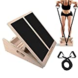PACEARTH Professional Wooden Slant Board with Stretch Resistance Tube, Calf Stretcher, Adjustable Incline Calf Stretch Board, Non-Slip Tread Side & Handles Slant Board for Squats & Calf Stretching