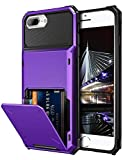 Vofolen Case for iPhone 8 Plus Case Wallet Card Holder ID Slot Scratch Resistant Dual Layer Protective Bumper Rugged TPU Rubber Armor Hard Shell Cover for iPhone 6 Plus 6s Plus 7 Plus 8 Plus (Purple)