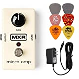 MXR M133 Micro Amp Booster Effects Pedal BUNDLE with AC/DC Adapter Power Supply for 9 Volt DC 1000mA and 6 Assorted Dunlop Guitar Picks �