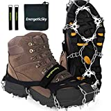 EnergeticSky Upgraded Version of Walk Traction Ice Cleat Spikes Crampons,True Stainless Steel Spikes and Durable Silicone,Boots for Hiking On Ice & Snow Ground,Mountian, Black, Large