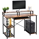 """TOPSKY Computer Desk with Storage Shelves/23.2"""" Keyboard Tray/Monitor Stand Study Table for Home Office(46.5inch, Rustic Brown)"""
