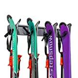 Ski Storage Rack, Wall Mounted, Holds 4 Pairs of Skis & Skiing Poles or Snowboard, for Home and Garage Storage, Wall Mounted, Heavy Duty, Rubber-Coated Hooks,