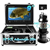 Underwater Fishing Camera 360° Rotating View Waterproof Video Camera and Adjustable 38 LEDs 9 inch 720P HD LCD Monitor with DVR Fish Finder for Ice,Lake and Boat Fishing