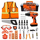 SMTAEMFB Kids Tool Set with Electric Power Drill Toddler Pretend Play Tool Toys Construction Kit Playset Accessories for Girls Boys Gift Ages 3 4 5 6 7 8 Years Old