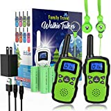 Wishouse 2 Rechargeable Walkie Talkies for Kids with Charger 2X3000mAh Battery,Family Walky Talky for Adult Cruise Ship,Outdoor Camping Hiking Fun Toy Birthday Xmas Gift for Girl Boy Green