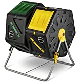 Dual Chamber Compost Tumbler – Easy-Turn, Fast-Working System – All-Season, Heavy-Duty, High Volume Composter with 2 Sliding Doors - (2 – 18.5gallon /70 Liter)