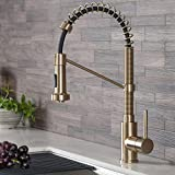 Kraus KPF-1610BG Bolden 18-Inch Commercial Kitchen Faucet with Dual Function Pull-Down Sprayhead in all-Brite Finish, 18 Inches, Brushed Gold