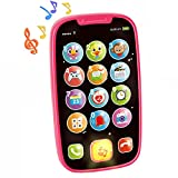 HOLA Baby Cell Phone Toys for 1 Year Old Girl, My First Learning Baby Phone Toy, Lights Music Play Phone for Babies Kids Toddlers Learning Educational Gifts, Pink