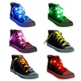 Acmee 6 Pairs LED Shoelaces - High Visibility Soft Nylon Light Up Shoelace with 3 Modes in 6 Colors for Night Safety Running Biking, Or Cool Disco Party, Cosplay, Hip-hop Dance