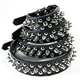 CoreLife Spiked Dog Collar / Cat Collar, Studded Vegan Leather Pet Collar for Dogs and Cats L Black