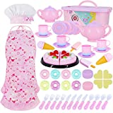 Tea Party Set for Little Girl Kitchen Pretend Tea Toy Set Play Food Toy for Kids 54 PCS with Cookies Ice Cream Toy Chef Hat and Pink Apron for for Kids,Toddler Toy Gift
