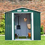 4.2' x 7' Backyard Garden Metal Warehouse Outdoor Storage Shed Rural Style for Utility Tool&Patio Furniture Storage,Gable Roof, Green