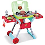 Ezone Little Kids Indoor Outdoor Toy Kitchen BBQ Play Set Barbecue Grill with Sounds & Lights