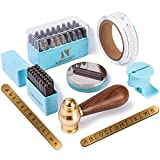 Imkont 1/8inch 3mm Number and Letter Metal Stamp 63pcs with Metal Bench Block Brass Hammer Set (A-Z & a-z &0-9 & Metal Bench Block)