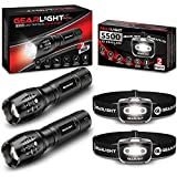 GearLight S1000 LED Tactical Flashlight with Holster [2 Pack] + GearLight S500 LED Headlamp [2 Pack] Bundle