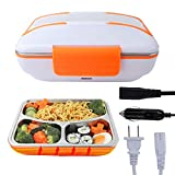 VIGIND Bento Lunch Box,Tiffin Box,Electric Heating Lunch Box,110V & 12V Portable Food Warmer for Home and Car with Removable 304 Stainless Steel Storage Container,Spoon Fork Included (Orange)