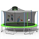 steelway 1000 LBS 16FT Trampoline with Safety Enclosure Net, Basketball Hoop and Ladder, Large-Scale Trampoline for Kids/Adluts Family Jumping Outdoor Workout, Green