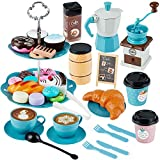 TEPSMIGO Toy Tea Set for Girls, Play Coffee Maker Set, Party Play Food for Kids, Tea Time Toy Set - Including Coffee Maker Dessert Cookies Play Kitchen Accessories Toy for Toddlers Boys Girls