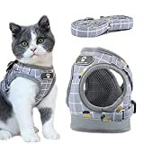 Kayina Cat Harness - Escape Proof Safe Breathable Cat Vest Harness for Walking Outdoor,Adjustable Reflective Soft Mesh Breathable Cat Harness and Leash Set,Suitable for Puppies and Adult cat