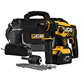 JCB Tools - JCB 20V Cordless Brushless SDS Rotary Impact Hammer Drill Power Tool - With 5.0Ah Battery And Charger - For Concrete, Masonry, Removing Plaster, Chiseling, Electricians Drill, Core Cutting