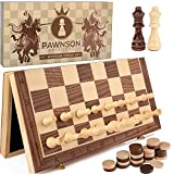 """Magnetic Wooden Chess Checkers Set for Kids and Adults – 15"""" Staunton Chess Set - Travel Portable Folding Chess Board Game Sets - Storage for Wood Pieces - Unique E-Book for Beginner - 2 Extra Queens"""