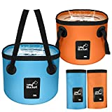 2 Pack Collapsible Bucket,Handy Portable Folding Bucket with Handle Water Container,5 Gallon Collapsible Wash Basin for Travel Friend Hiking Travel Fishing Camping Gardening Boating Foot Bath Beach