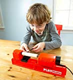 HearthSong PLAYmake Kids' 4-in-1 Woodshop Carpentry Cool Tool with Jigsaw, Lathe, Drill Press, Sander, Power Supply, Safety Goggles, Extra Supplies, and Deluxe Project Book