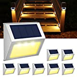 Solar Lights Outdoor for Deck,Waterproof Solar Powered Steps Light Outdoor Wireless LED Lamp Fence Lighting Walkway Patio Stair Garden Path Rail Backyard Fences Post 8 Pack Warm White