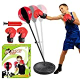 ToyVelt Punching Bag For Kids Boxing Set Includes Standing Base With Adjustable Stand, Kids Boxing Gloves, Hand Pump - Top Gifting Idea For Boys and Girls Ages 3 - 14 Years Old - Updated version 2021