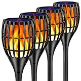 Ollivage Solar Light Outdoor Upgraded, 43' Flickering Flames Torch Light Solar Garden Lights Waterproof Landscape Lighting Dusk to Dawn Auto On/Off Security Torch Light for Yard Patio Driveway, 4Pack