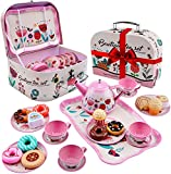 USUGER 27PCS Tea Party Set for Little Girls, Kids Pretend Toy Tin Tea Set & Food Sweet Treats Playset & Carrying Case, Princess Tea Time Kitchen Pretend Play Toy Gift for Girls Age 3-6