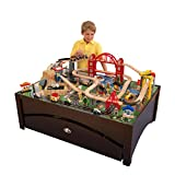 KidKraft Metropolis Wooden Train Set & Table with 100 Pieces and Storage Drawer, Espresso, Gift for Ages 3+