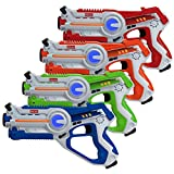 Kidzlane Laser Tag Guns Set of 4 | Lazer Tag Guns for Kids with 4 Team Players | Indoor and Outdoor Laser Tag Play Toy for Kids and Teens Boys and Girls | Ages 8+