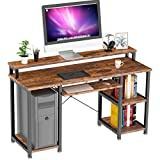 NOBLEWELL Computer Desk with Monitor Stand Storage Shelves Keyboard Tray,47' Studying Writing Table for Home Office (Rustic Brown)
