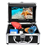 Underwater Fishing Camera, Portable Video Fish Finder Camera 7 Inch LCD Monitor 1000TVL with Depth TemperatureDisplay, 15M/50FT Cable 12PCS IR Infrared LED Fishing Camera for Ice Lake Boat Fishing