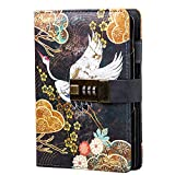 Diary With Lock A6 Small Locking Diary for Adults PU Leather Binder Locking Journal Notebook 6 Rings Refillable,6.9in x 4in