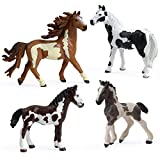 4PCS Pinto Horse Toy, Realistic Plastic Horse Figurines, Horse Animal Toys for Girls and Boys, Horse Club Cake Topper Includes Pinto Stallion, Mare and Foals