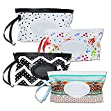 4 Pack Baby Refillable Wet Wipe Dispenser, Reusable Wipe Holder Wipes Pouch Container, Portable Travel Wipes Holders & Case, Eco Friendly and Lightweight Wipes Pouch