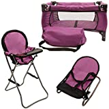 Mommy & Me 3 In 1 Baby Doll Accessories Mega Deluxe Playset with Doll High Chair, Doll Bouncer, and Doll Pack N Play Baby Doll Crib, Fits 18 Inch American Girl Doll, Purple
