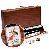 Yellow Mountain Imports American Mahjong Set, Koi Fish with Wooden Case, Four Wooden Racks, Acrylic Pushers, Wind Indicator, Dice, and Wright Patterson Count Scoring Coins