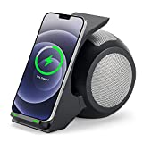 Fast Wireless Charger with Bluetooth Speaker,CENSHI Wireless Charging Stand for iPhone13 12 11 Mini Pro Max XR XS 8 Samsung Galaxy Z Flip3 Fold3 S21 S20 S10 S9 Note 20 10 9 and More