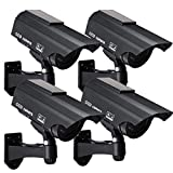 Solar Powered Fake Security Camera, Bullet Dummy Surveillance System with Realistic Red Flashing Lights and Warning Sticker Indoor Outdoor (4, Black)