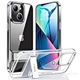 TORRAS MoonClimber Compatible for iPhone 13 Case, [6X Military Drop Shockproof][3 Stand Way] Slim Hard Kickstand Protective Clear Compatible for iPhone 13 Case, Clear