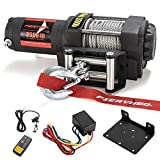 FIERYRED Electric 12V 3500lb Winch, Steel Cable Winch Kits for UTV ATV with Both Wireless Handheld Remote and Corded Control Recovery Winch