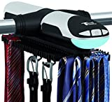 Tech Tools Motorized Revolving Tie and Belt Rack with Built in LED Light - Automatic Tie Rack Rotates Forwards & Backwards - Holds 72 Ties and 8 Belts - Bottom Hooks for Belts & Other Accessories