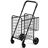 Goplus Folding Shopping Utility Cart, Double Basket and 360° Swivel Wheels, Adjustable Handle, Small Cart Perfect for Grocery Laundry Book Luggage Travel