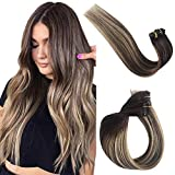 Hair Extensions Clip in Human Hair Ombre Balayage Clip on Real Remy Hair Extensions Natural Brazilian Virgin Hair Brown Roots to Brown with Honey Blonde Highlights Double Weft 70g 7pcs 16 Clips 20in